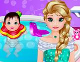Elsa Bebek Banyosu oyunu