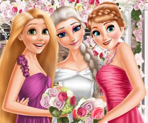 Elsa ve Prensesler Düğün Günü oyunu