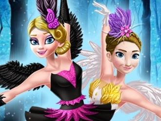 Elsa ve Anna Siyah ve Beyaz Kuğu oyunu